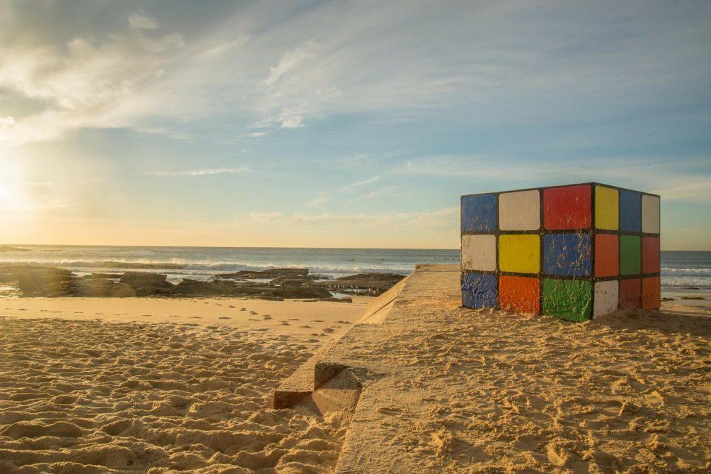 Rubiks cube on a Sydney Beach